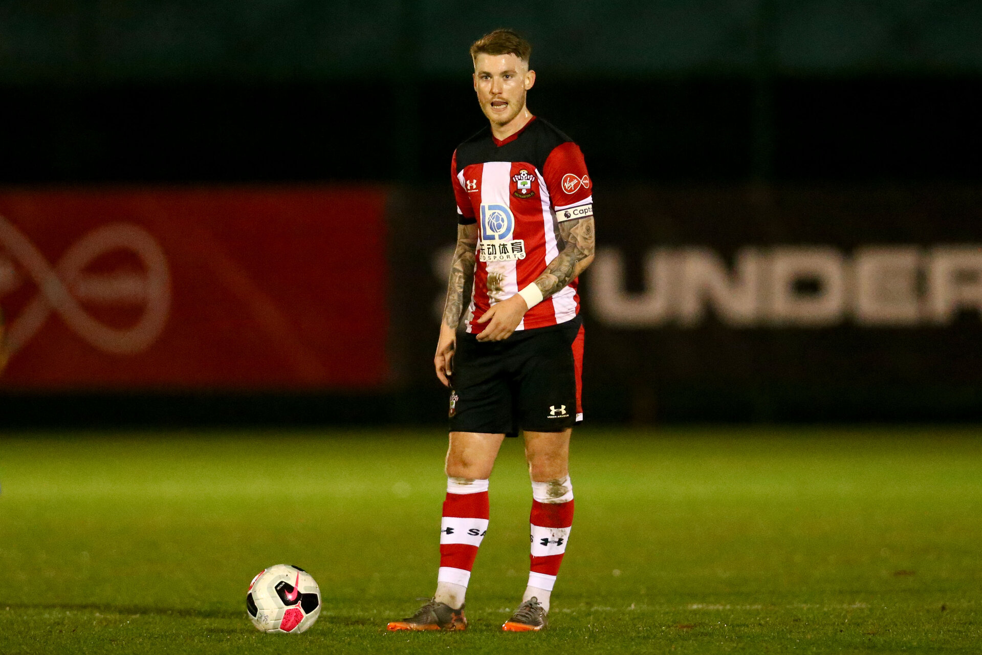 LONDON, ENGLAND - November 27: Callum Slattery free kick of Southampton U23 during Premier League International Cup match between Southampton and Monaco at Staplewood Training Center, Southampton on November 27 2019 in London England (Photo by Isabelle Field/Southampton FC via Getty Images)
