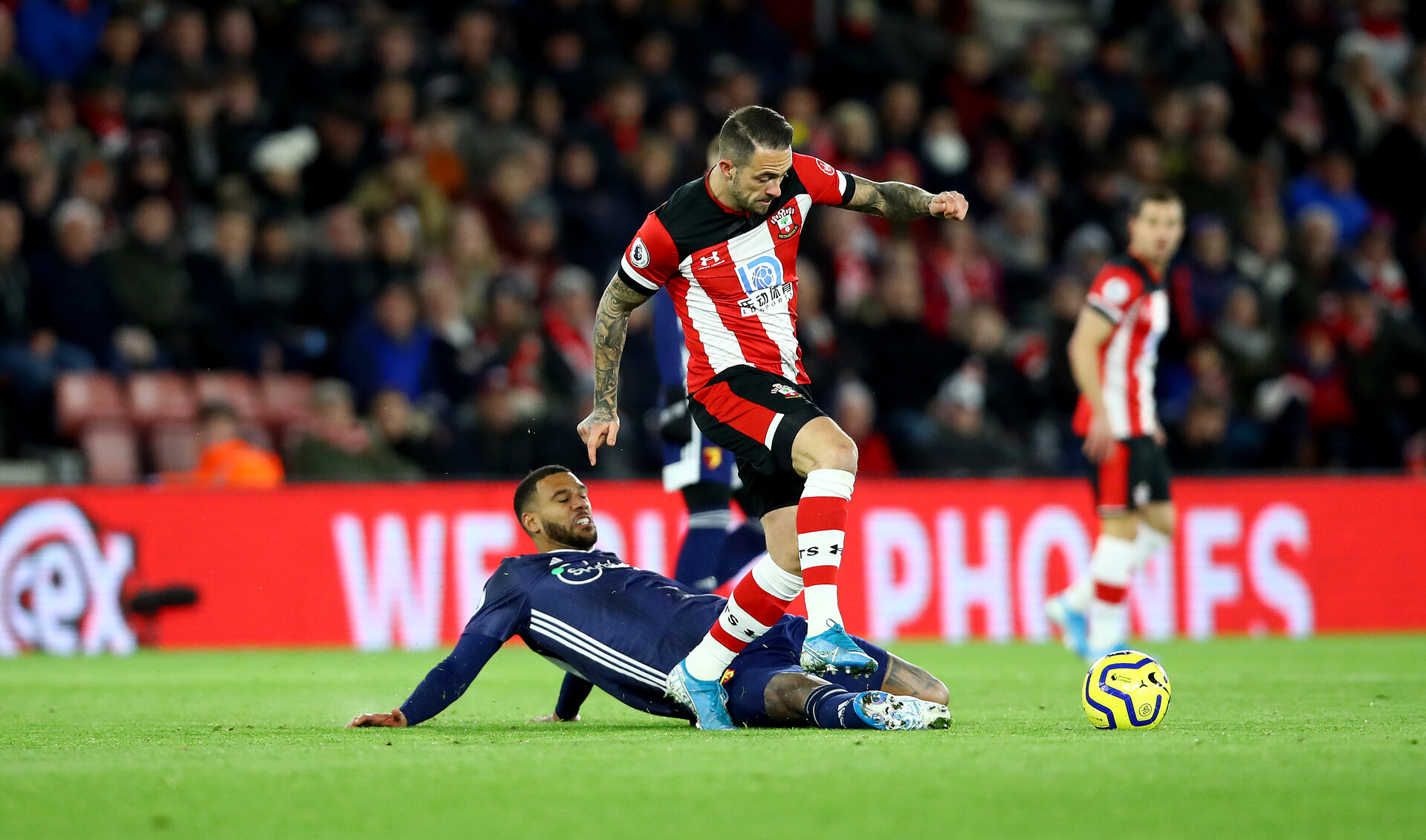 SOUTHAMPTON, ENGLAND - NOVEMBER 30: Danny Ings(R) of Southampton during the Premier League match between Southampton FC and Watford FC at St Mary's Stadium on November 30, 2019 in Southampton, United Kingdom. (Photo by Matt Watson/Southampton FC via Getty Images)