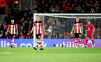 SOUTHAMPTON, ENGLAND - NOVEMBER 30: Dejected Southampton players during the Premier League match between Southampton FC and Watford FC at St Mary's Stadium on November 30, 2019 in Southampton, United Kingdom. (Photo by Matt Watson/Southampton FC via Getty Images)