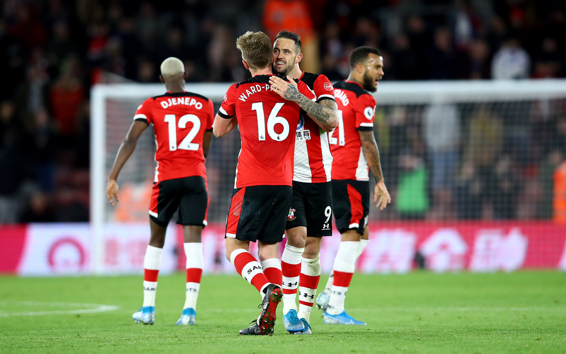 SOUTHAMPTON, ENGLAND - NOVEMBER 30: Danny Ings and James Ward-Prowse(16) of Southampton celebrates during the Premier League match between Southampton FC and Watford FC at St Mary's Stadium on November 30, 2019 in Southampton, United Kingdom. (Photo by Matt Watson/Southampton FC via Getty Images)