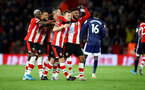 SOUTHAMPTON, ENGLAND - NOVEMBER 30: James Ward-Prowse(centre) of Southampton celebrates with his team mates during the Premier League match between Southampton FC and Watford FC at St Mary's Stadium on November 30, 2019 in Southampton, United Kingdom. (Photo by Matt Watson/Southampton FC via Getty Images)