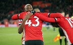 SOUTHAMPTON, ENGLAND - NOVEMBER 30: Djenepo, Valery and Boufal during the Premier League match between Southampton FC and Watford FC at St Mary's Stadium on November 30, 2019 in Southampton, United Kingdom. (Photo by Chris Moorhouse/Southampton FC via Getty Images)