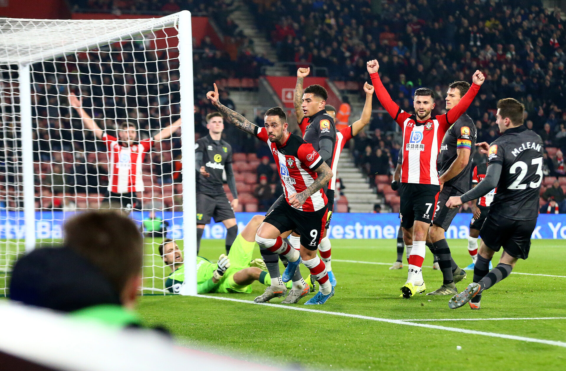 SOUTHAMPTON, ENGLAND - DECEMBER 04: Danny Ings of Southampton celebrates after scoring to put his team 1-0 up during the Premier League match between Southampton FC and Norwich City at St Mary's Stadium on December 04, 2019 in Southampton, United Kingdom. (Photo by Matt Watson/Southampton FC via Getty Images)