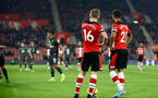 SOUTHAMPTON, ENGLAND - DECEMBER 04: James Ward-Prowse and Ryan Bertrand during the Premier League match between Southampton FC and Norwich FC at St Mary's Stadium on December 04, 2019 in Southampton, United Kingdom. (Photo by Isabelle Field/Southampton FC via Getty Images)