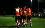 SOUTHAMPTON, ENGLAND - DECEMBER 06: goal celebration during the Premier League 2 match between Southampton FC U23 and Man City U23 at Snows Stadium, AFC Totton on December 06, 2019 in Southampton, United Kingdom. (Photo by Isabelle Field/Southampton FC via Getty Images)