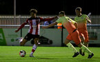 SOUTHAMPTON, ENGLAND - DECEMBER 06: Christian Norton shot blocked during the Premier League 2 match between Southampton FC U23 and Man City U23 at Snows Stadium, AFC Totton on December 06, 2019 in Southampton, United Kingdom. (Photo by Isabelle Field/Southampton FC via Getty Images)