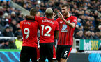 NEWCASTLE UPON TYNE, ENGLAND - DECEMBER 08: L to R Danny Ings, Moussa Djenepo and Jack Stephens during the Premier League match between Newcastle United and Southampton FC at St. James Park on December 08, 2019 in Newcastle upon Tyne, United Kingdom. (Photo by Matt Watson/Southampton FC via Getty Images)
