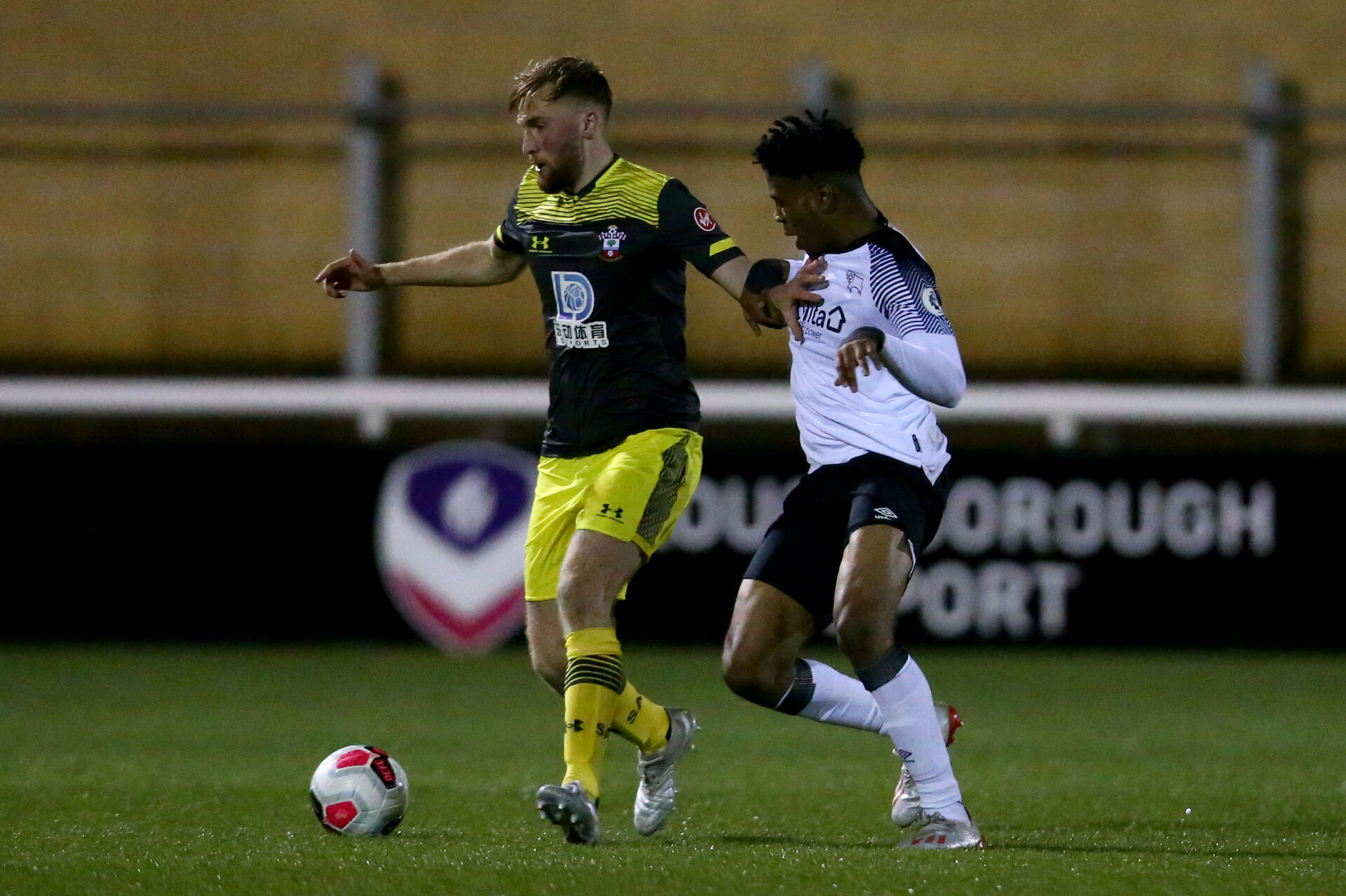 LOUGHBOUROUGH, ENGLAND - DECEMBER 10: Aaron O'Driscoll during Premier League International Cup match between Derby County and Southampton at Loughborough University Stadium on December 10 2019 in Loughborough, England (Photo by Isabelle Field/Southampton FC via Getty Images)