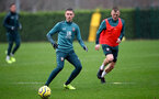 SOUTHAMPTON, ENGLAND - DECEMBER 09: Will Smallbone(L) during a Southampton FC training session on December 12, 2019 in Southampton, England. (Photo by Matt Watson/Southampton FC via Getty Images)