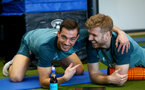 SOUTHAMPTON, ENGLAND - DECEMBER 22: Cedric Soares(L) and Stuart Armstrong during a Southampton FC recovery session at the Staplewood Campus on December 22, 2019 in Southampton, England. (Photo by Matt Watson/Southampton FC via Getty Images)