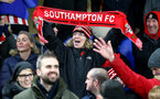 LONDON, ENGLAND - DECEMBER 26: Saints fans during the Premier League match between Chelsea FC and Southampton FC at Stamford Bridge on December 26, 2019 in London, United Kingdom. (Photo by Matt Watson/Getty Images)
