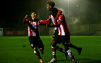 SOUTHAMPTON, ENGLAND - JANUARY 06: Sean Brennan (L), Enzo Robise and Lucas Defise (R) during the Premier League 2 match between Southampton U23 and Everton at Staplewood Training Ground on January 6, 2020 in Southampton, United Kingdom. (Photo by Isabelle Field/Southampton FC via Getty Images)