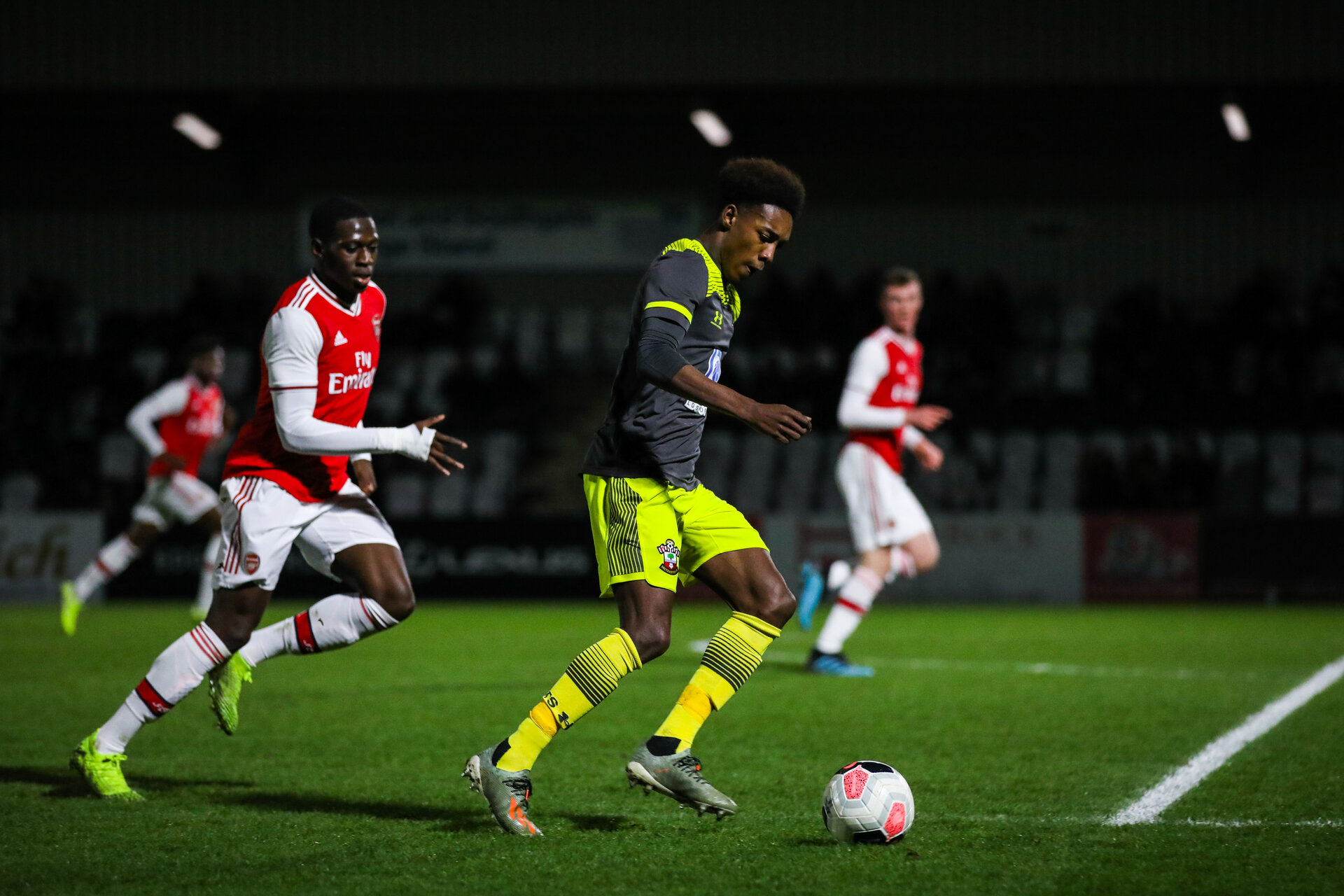 BOREHAMWOOD, ENGLAND - JANUARY 09: Ramello Mitchell of Southampton FC during the FA Youth Cup Fourth Round match between Arsenal U18s and Southampton FC U18s at Meadow Park on January 09, 2020 in Borehamwood, England