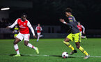 BOREHAMWOOD, ENGLAND - JANUARY 09: Ramello Mitchell of Southampton FC in possession during the FA Youth Cup Fourth Round match between Arsenal U18s and Southampton FC U18s at Meadow Park on January 09, 2020 in Borehamwood, England