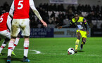 BOREHAMWOOD, ENGLAND - JANUARY 09: Lucas Defise of Southampton FC during the FA Youth Cup Fourth Round match between Arsenal U18s and Southampton FC U18s at Meadow Park on January 09, 2020 in Borehamwood, England