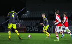 BOREHAMWOOD, ENGLAND - JANUARY 09: Sam Bailey of Southampton FC in possession during the FA Youth Cup Fourth Round match between Arsenal U18s and Southampton FC U18s at Meadow Park on January 09, 2020 in Borehamwood, England