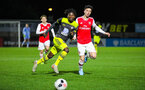 BOREHAMWOOD, ENGLAND - JANUARY 09: Alex Jankewitz of Southampton FC battles for possession during the FA Youth Cup Fourth Round match between Arsenal U18s and Southampton FC U18s at Meadow Park on January 09, 2020 in Borehamwood, England