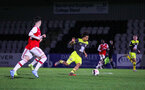 BOREHAMWOOD, ENGLAND - JANUARY 09: Caleb Watts of Southampton FC in possession during the FA Youth Cup Fourth Round match between Arsenal U18s and Southampton FC U18s at Meadow Park on January 09, 2020 in Borehamwood, England