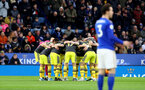 LEICESTER, ENGLAND - JANUARY 11: Saints players huddle during the Premier League match between Leicester City and Southampton FC at The King Power Stadium on January 11, 2020 in Leicester, United Kingdom. (Photo by Matt Watson/Southampton FC via Getty Images)