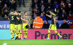 LEICESTER, ENGLAND - JANUARY 11: Danny Ings(centre) of Southampton celebrates after putting his team 2-1 up during the Premier League match between Leicester City and Southampton FC at The King Power Stadium on January 11, 2020 in Leicester, United Kingdom. (Photo by Matt Watson/Southampton FC via Getty Images)