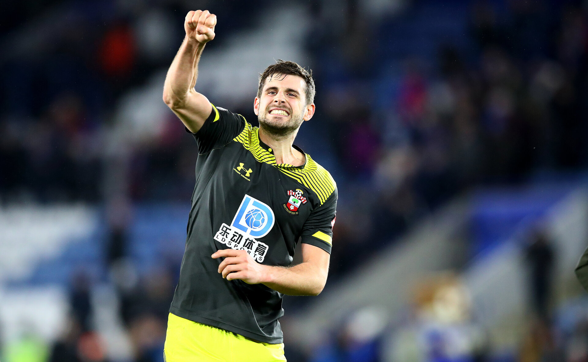 LEICESTER, ENGLAND - JANUARY 11: Jack Stephens of Southampton during the Premier League match between Leicester City and Southampton FC at The King Power Stadium on January 11, 2020 in Leicester, United Kingdom. (Photo by Matt Watson/Southampton FC via Getty Images)