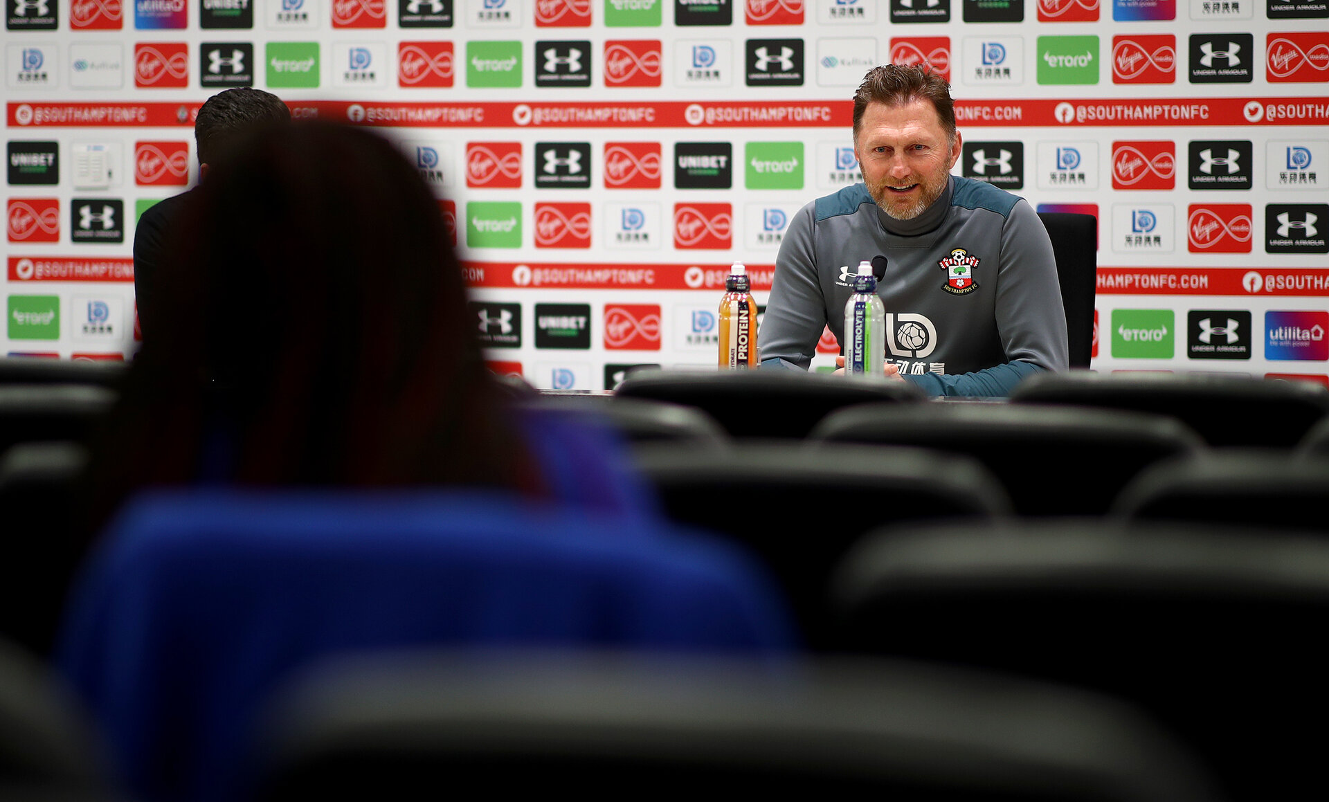 SOUTHAMPTON, ENGLAND - JANUARY 16: Manager Ralph Hasenhuttl during a Southampton FC press conference at the Staplewood Campus on January 16, 2020 in Southampton, England. (Photo by Matt Watson/Southampton FC via Getty Images)