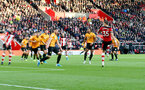 SOUTHAMPTON, ENGLAND - JANUARY 18: Jan Bednarek(R) of Southampton scores during the Premier League match between Southampton FC and Wolverhampton Wanderers at St Mary's Stadium on January 18, 2020 in Southampton, United Kingdom. (Photo by Matt Watson/Southampton FC via Getty Images)