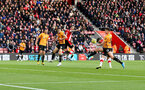 SOUTHAMPTON, ENGLAND - JANUARY 18: Shane Long(R) of Southampton scores with his head to make it 2-0 during the Premier League match between Southampton FC and Wolverhampton Wanderers at St Mary's Stadium on January 18, 2020 in Southampton, United Kingdom. (Photo by Matt Watson/Southampton FC via Getty Images)