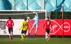 SOUTHAMPTON, ENGLAND - JANUARY 18: Oliver Wright of Southampton FC makes a save during the Barclays Under 18 Premier League match between Southampton FC and Arsenal FC at the Staplewood Campus on January 18, 2020 in Southampton, England
