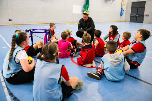 SOUTHAMPTON, ENGLAND - JANUARY 19: Saints Foundation coaches deliver a session during the Saints Foundation Pan Disabilty League Session at the Oasis Academy Lord's Hill on January 19, 2020 in Southampton, England