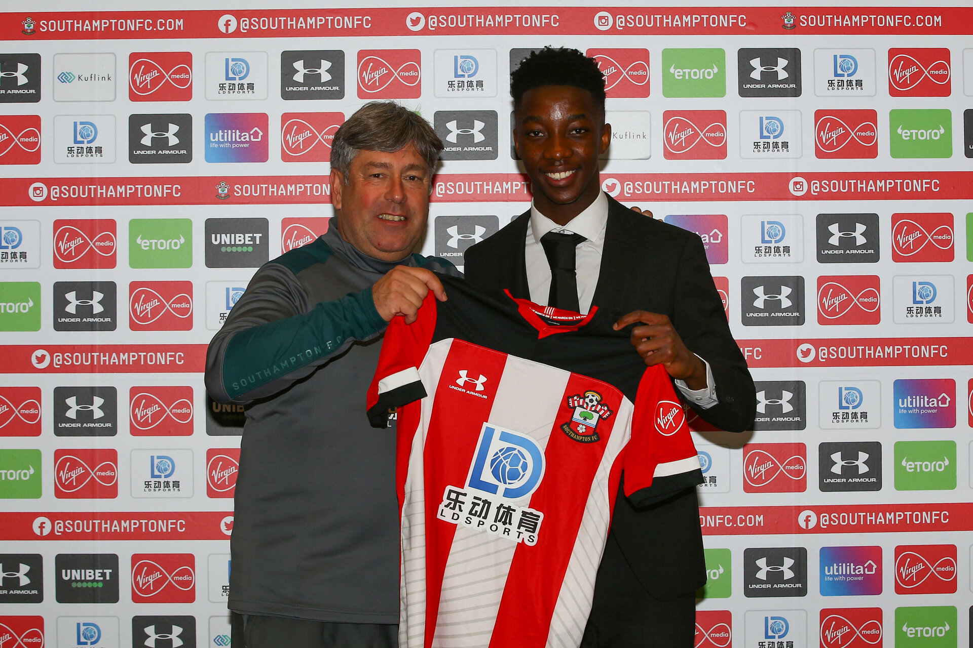 SOUTHAMPTON, ENGLAND - JANUARY 22: Kgaogelo Chauke signing his professional contract at Southampton FC at Staplewood Training Ground on January 22, 2020 in Southampton, United Kingdom. (Photo by Isabelle Field Southampton FC/Southampton FC via Getty Images)