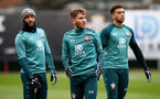 SOUTHAMPTON, ENGLAND - JANUARY 23: L to R Nathan Redmond, Jake Vokins and Ché Adams during a Southampton FC training session at the Staplewood Campus on January 23, 2020 in Southampton, England. (Photo by Matt Watson/Southampton FC via Getty Images)