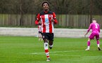 SOUTHAMPTON, ENGLAND - JANUARY 23: Ramello Mitchell of Southampton FC celebrates after scoring his side's fourth goal during the Barclays Under 18 Premier League match between Southampton FC and Swansea City at the Staplewood Campus on January 23, 2020 in Southampton, England