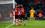 SOUTHAMPTON, ENGLAND - JANUARY 25: Sofiane Boufal(centre) after scoring during the FA Cup Fourth Round match between Southampton FC and Tottenham Hotspur at St. Mary's Stadium on January 25, 2020 in Southampton, England. (Photo by Matt Watson/Southampton FC via Getty Images)