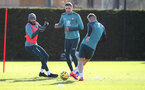 SOUTHAMPTON, ENGLAND - JANUARY 28: Nathan Redmond(L) and Jan Bednarek(centre) during a Southampton FC training session at the Staplewood Campus on January 28, 2020 in Southampton, England. (Photo by Matt Watson/Southampton FC via Getty Images)