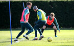 SOUTHAMPTON, ENGLAND - JANUARY 28: L to R Jack Stephens, Sofiane Boufal and Jake Vokins during a Southampton FC training session at the Staplewood Campus on January 28, 2020 in Southampton, England. (Photo by Matt Watson/Southampton FC via Getty Images)