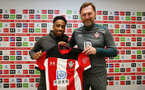 SOUTHAMPTON, ENGLAND - JANUARY 28: Kyle Walker-Peters(L) joins Southampton FC on loan from Tottenham Hotspur, pictured with manager Ralph Hasenhuttl at the Staplewood Campus on January 28, 2020 in Southampton, England. (Photo by Matt Watson/Southampton FC via Getty Images)