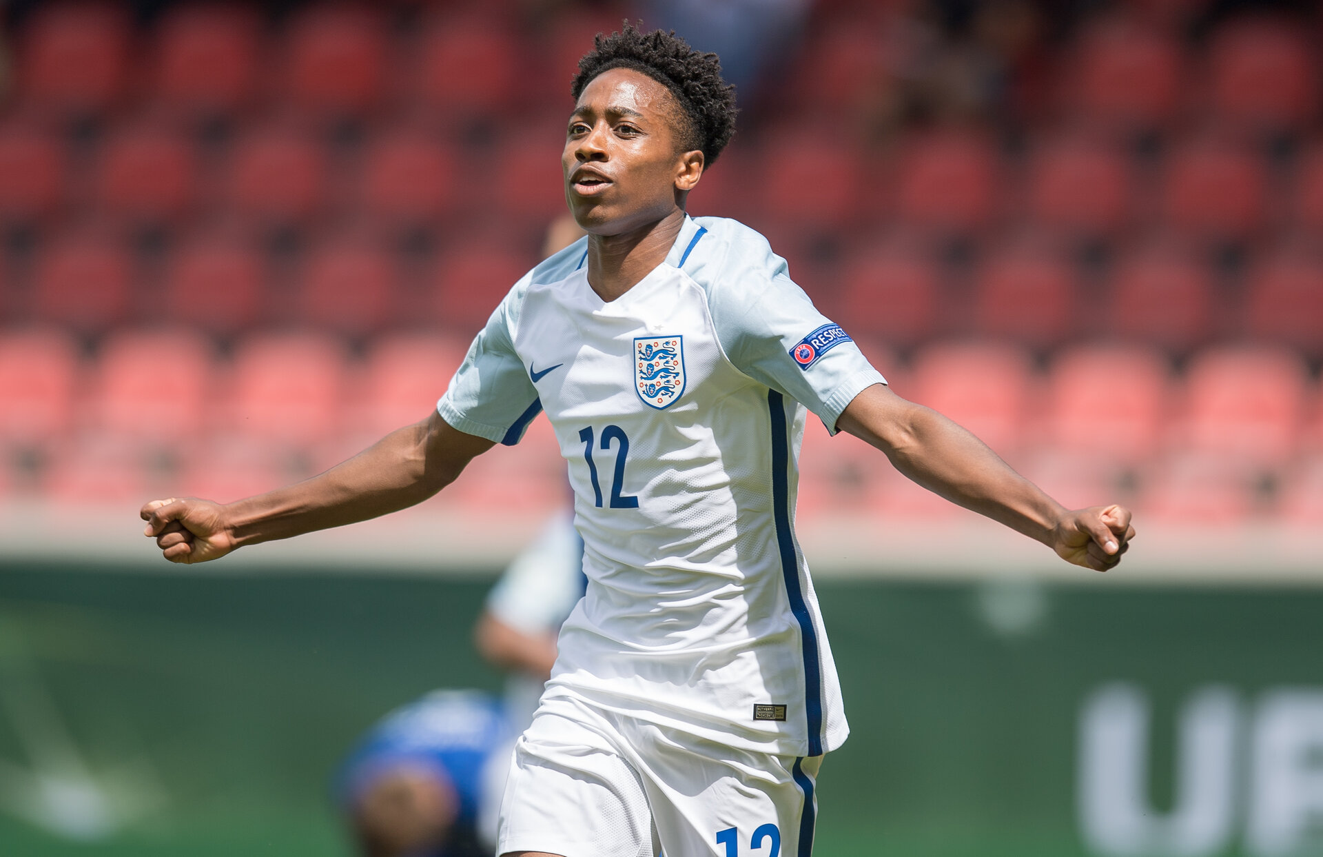 HEIDENHEIM, GERMANY - JULY 18: Kyle Walker-Peters of England celebrates his team's second goal during the UEFA Under19 European Championship match between U19 England and U19 Croatia at Voith-Arena on July 18, 2016 in Heidenheim, Germany. (Photo by Daniel Kopatsch/Bongarts/Getty Images)