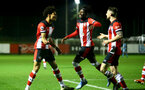 SOUTHAMPTON, ENGLAND - FEBRUARY 03: Dare Olufunwa (L), Alex Janekewitz and Will Ferry (R) during the Premier League 2 match between Southampton FC and Wolverhampton Wonderers at Staplewood Training Ground on February 03, 2020 in Southampton, England. (Photo by Isabelle Field/Southampton FC via Getty Images)