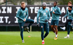 SOUTHAMPTON, ENGLAND - FEBRUARY 13: Stuart Armstrong(L) and Nathan Redmond (R) during a Southampton FC training session at the Staplewood Complex on February 13, 2020 in Southampton, England. (Photo by Matt Watson/Southampton FC via Getty Images)