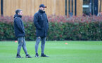 SOUTHAMPTON, ENGLAND - FEBRUARY 13: Manager Ralph Hasenhuttl(R) and Assistant Coach Richard Kitzbichler(L) during a Southampton FC training session at the Staplewood Complex on February 13, 2020 in Southampton, England. (Photo by Matt Watson/Southampton FC via Getty Images)