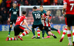 SOUTHAMPTON, ENGLAND - FEBRUARY 15: James Ward-Prowse of Southampton goes in for a tackle on Ashley Westwood(L) of Burnley during the Premier League match between Southampton FC and Burnley FC at St Mary's Stadium on February 15, 2020 in Southampton, United Kingdom. (Photo by Matt Watson/Southampton FC via Getty Images)