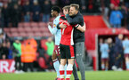 SOUTHAMPTON, ENGLAND - FEBRUARY 22: Stuart Armstrong and Ralph Hasenhüttl during the Premier League match between Southampton FC and Aston Villa at St Mary's Stadium on February 22, 2020 in Southampton, United Kingdom. (Photo by Chris Moorhouse/Southampton FC via Getty Images)