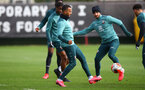SOUTHAMPTON, ENGLAND - FEBRUARY 27: Ryan Bertrand(L) and Shane Long during a Southampton FC training session at the Staplewood Campus on February 27, 2020 in Southampton, England. (Photo by Matt Watson/Southampton FC via Getty Images)