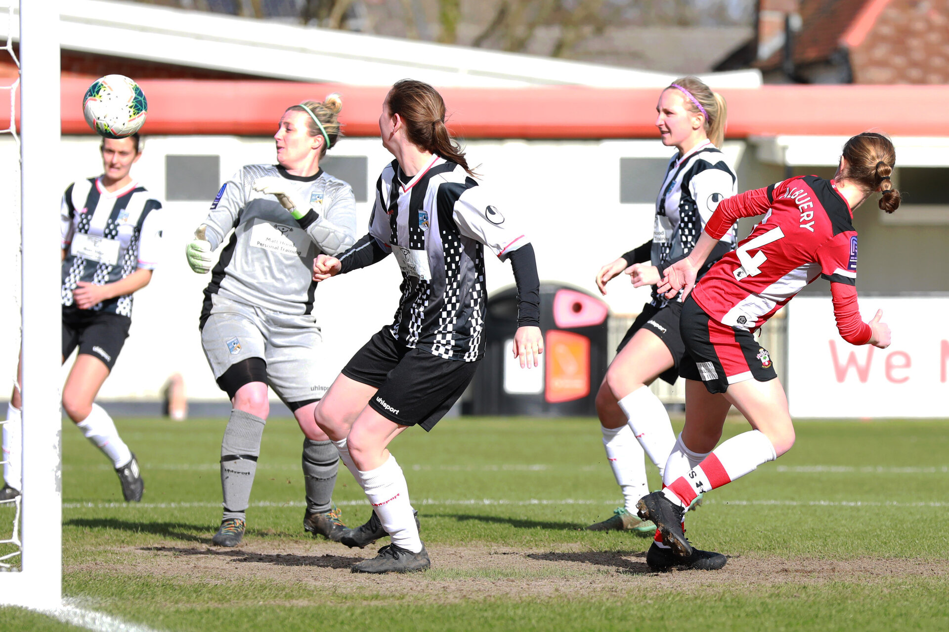 SOUTHAMPTON, ENGLAND - March 1: Shannon Albuery of Southampton FC Womens scores her sideÕs first goal during the FA WomenÕs National League match between Southampton Women and Maidenhead United at Staplewood Campus on March 1 2020, Exeter, England. (Photo by Tom Mulholland/Southampton FC) SOUTHAMPTON, ENGLAND - March 1: Shannon Albuery of Southampton FC Womens scores her side's first goal during the FA Women's National League match between Southampton Women and Maidenhead United at Staplewood Campus on March 1 2020, Exeter, England. (Photo by Tom Mulholland/Southampton FC)