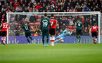 SOUTHAMPTON, ENGLAND - MARCH 07: Alex McCarthy of Southampton saves a penalty from Matt Ritchie of Newcastle United during the Premier League match between Southampton FC and Newcastle United at St Mary's Stadium on March 07, 2020 in Southampton, United Kingdom. (Photo by Matt Watson/Southampton FC via Getty Images)