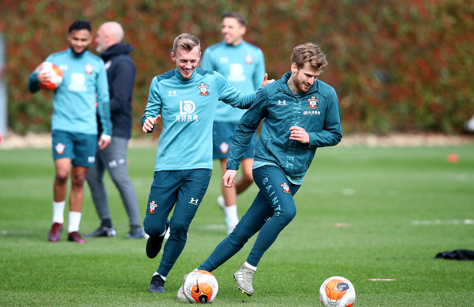 SOUTHAMPTON, ENGLAND - MARCH 12: James Ward-Prowse(L) and Stuart Armstrong during a Southampton FC training session at the Staplewood Campus on March 12, 2020 in Southampton, England. (Photo by Matt Watson/Southampton FC via Getty Images)