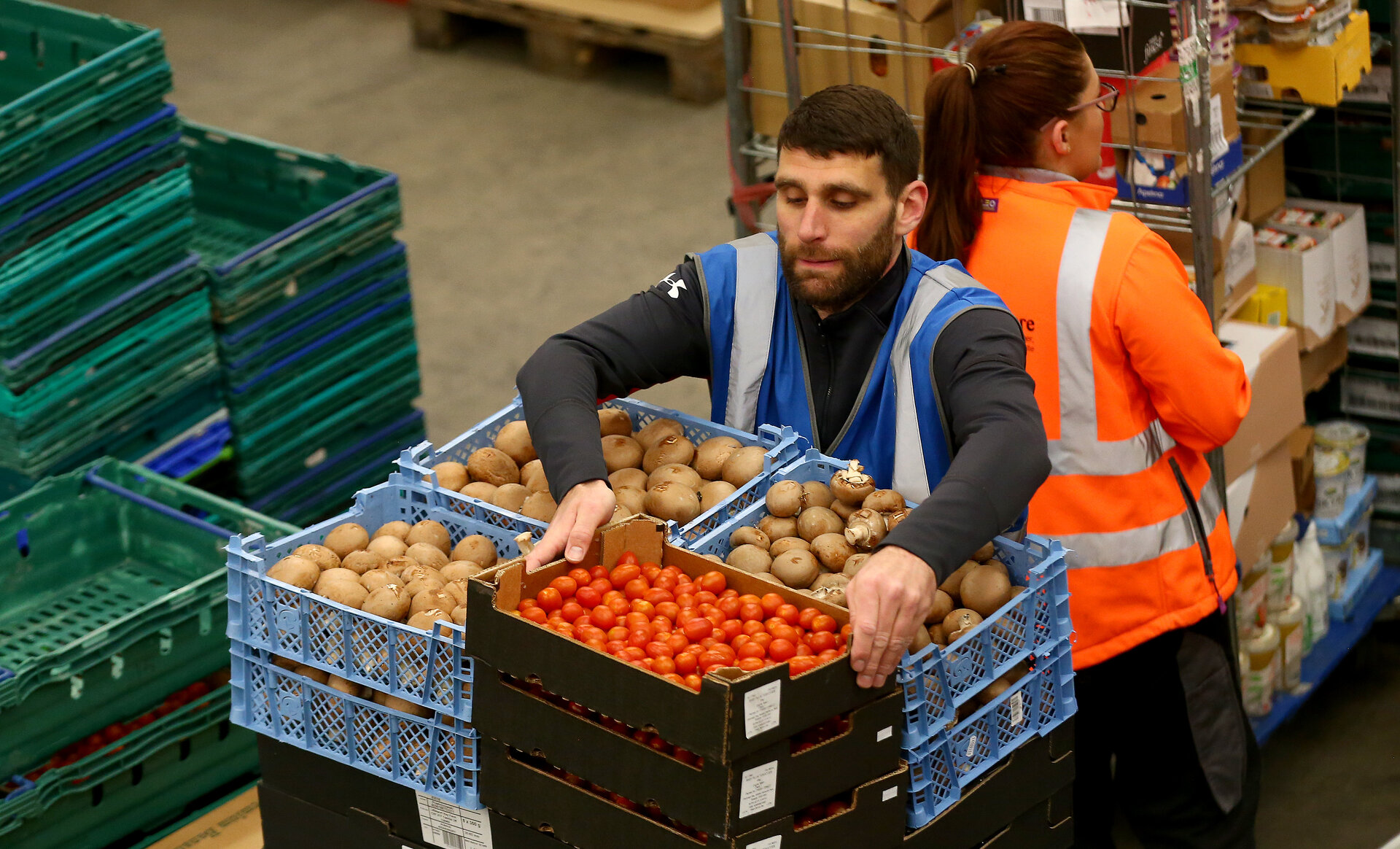 SOUTHAMPTON, ENGLAND - APRIL 07: Saints Foundation staff volunteer at FareShare, a local food distribution centre, on April 07, 2020 in Southampton, England. (Photo by Matt Watson/Southampton FC via Getty Images)