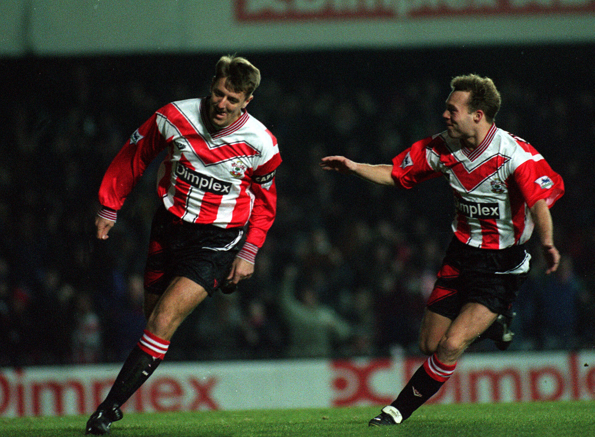 Southampton v Liverpool 14/2/94 F.A Premier League  Pic : Action Images   Matthew Le Tissier celebrates scoring the 1st goal from the penalty spot