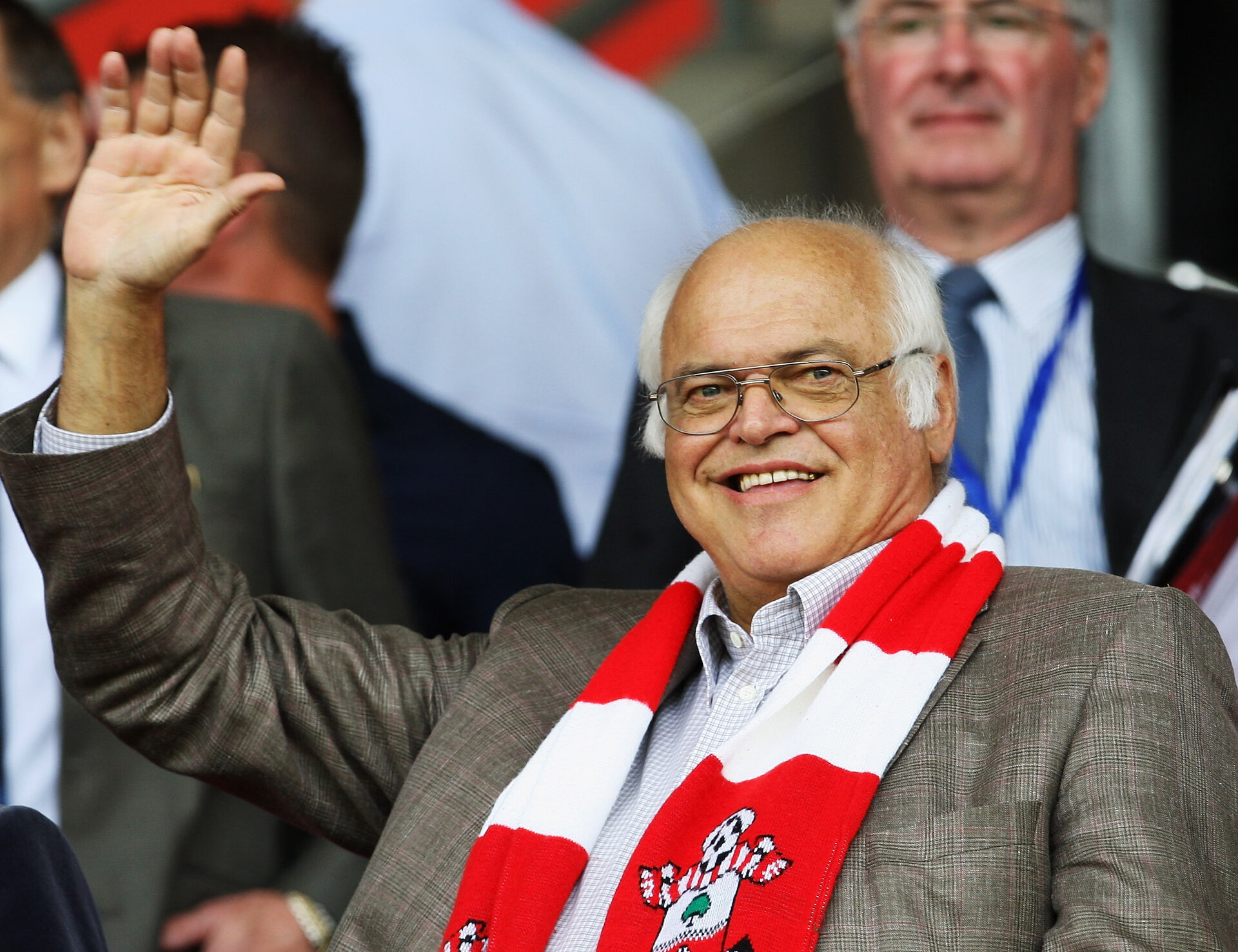 SOUTHAMPTON, ENGLAND - AUGUST 08: New Southampton owner Markus Liebherr waves to the fans prior to the Coca-Cola League One match between Southampton and Millwall at St Mary's on August 8, 2009 in Southampton, England.  (Photo by Bryn Lennon/Getty Images)